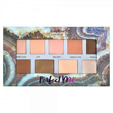Paleta de Iluminador, Blush e Contorno Ruby Rose Perfect Me Light HB7509