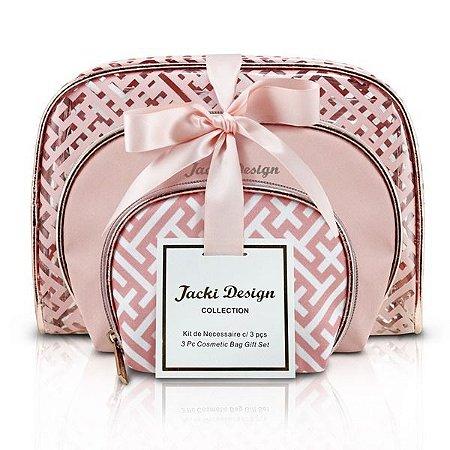 Kit de Necessaire c/ 3 peças - Diamantes Jacki Design ABC17380 Rosa