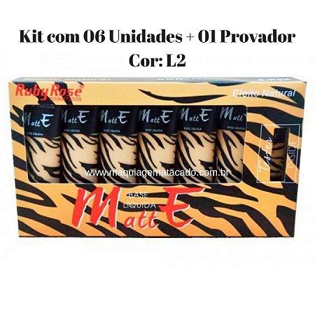 06 Unidades + 01 Provador - Base  Líquida Matte Ruby Rose - Cor L2 - HB8073
