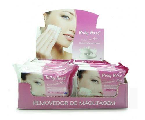 12 Unidades - Removedor de Maquiagem - Lenços Hidratantes Umedecidos Ruby Rose HB200 Rosa