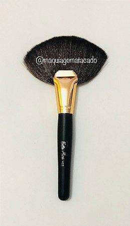 Pincel Hello Mini Leque Grande Preto com Dourado H22