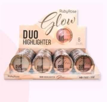 36 Unidades - Iluminador Glow Duo Ruby Rose HB7522