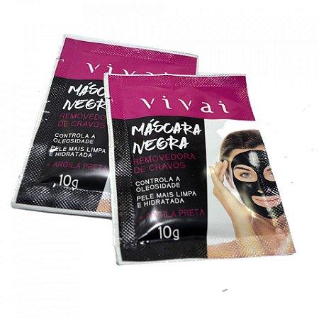 Máscara Facial Negra Argila Preta Removedora de Cravos Vivai