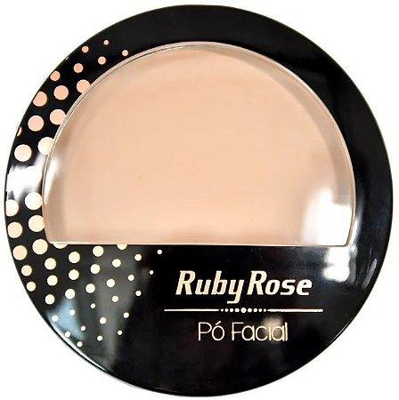 Pó Facial com Espelho Ruby Rose  HB7212 Cor 19