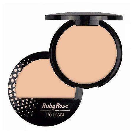 Pó Facial com Espelho Ruby Rose  HB7212 Cor 01