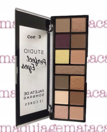 Paleta de Sombras 12 Cores Vivai Studio Perfect Eyes Cor 3
