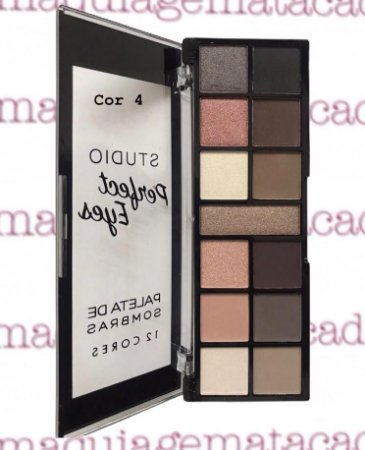 Paleta de Sombras 12 Cores Vivai Studio Perfect Eyes Cor 4