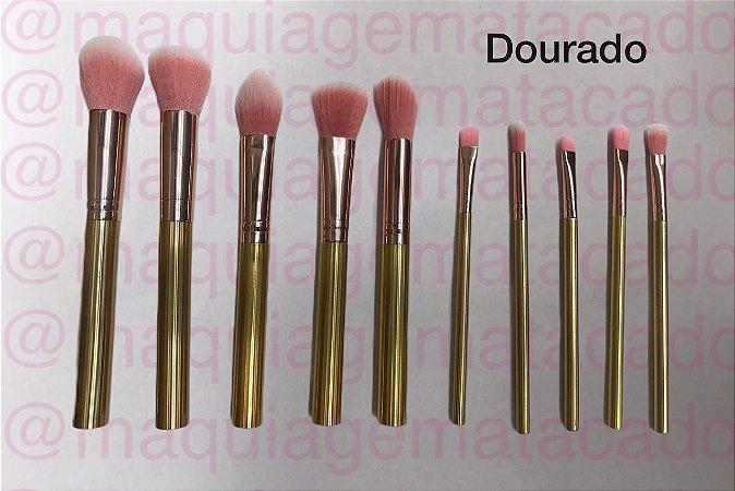 Kit Tubo 10 Pincéis para Maquiagem Meiyani Dourado