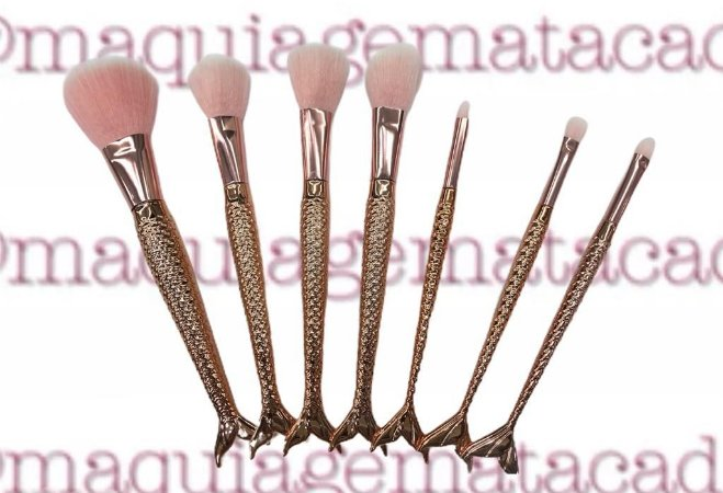Kit 7 Pincéis para Maquiagem Sereia Meiyani Rose