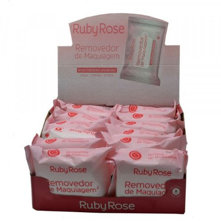 Removedor de Maquiagem - Lenços Hidratantes Umedecidos Ruby Rose Atacado Box 12 Unidades