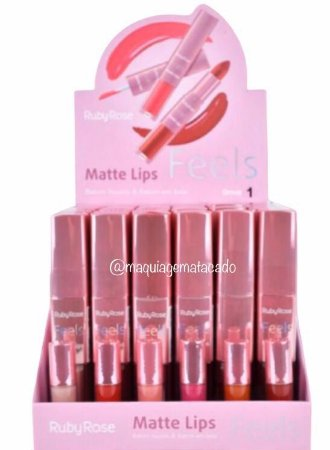 Batom Duo Matte Lips Feels Ruby Rose Grupo 1 Atacado Box 36 Unidades