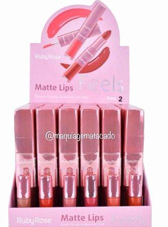 Batom Duo Matte Lips Feels Ruby Rose Grupo 2 Atacado Box 36 Unidades