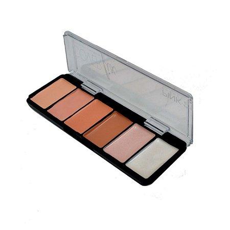 Paleta de Corretivo e Iluminador Cover Fix Pink 21 Cor 1 CS2303
