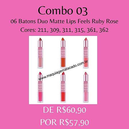06 Batons Duo Matte Lips Feels Ruby Rose - Kit