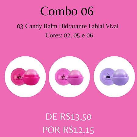 03 Candy Balm Hidratante Labial Vivai - Kit