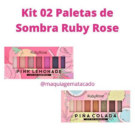 Kit 02 Paletas de Sombra Ruby Rose - Pink Lemonade e Piña Colada