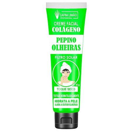 Creme Facial Colágeno Capim Limão Pepino Olheiras