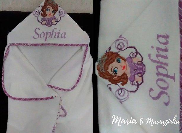 Toalha Bordada Princesa Sofia com Capuz