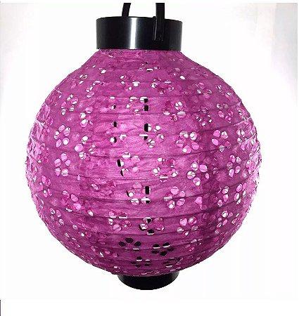 10 Luminárias Japonesa Com Luz A Pilha Papel Vazada 20 Cm