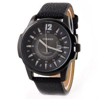 Relógio Masculino Curren Analógico 8123 PT