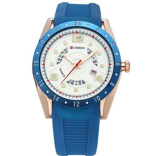 Relógio Masculino Curren Analógico 8142 Azul e Dourado