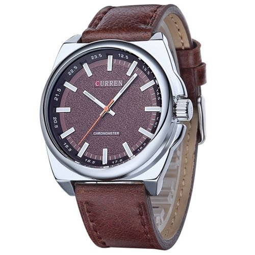 Relógio Masculino Curren Analógico 8168 Marrom e Prata