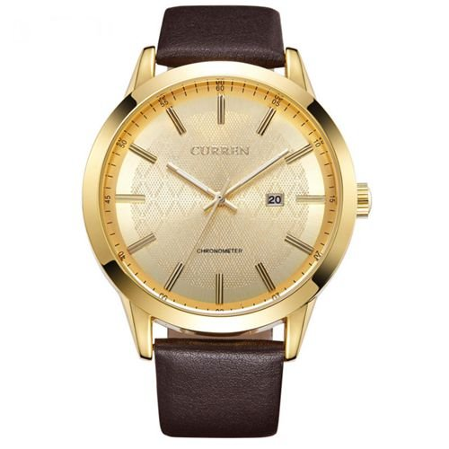 Relógio Masculino Curren Analógico 8114 Marrom e Dourado