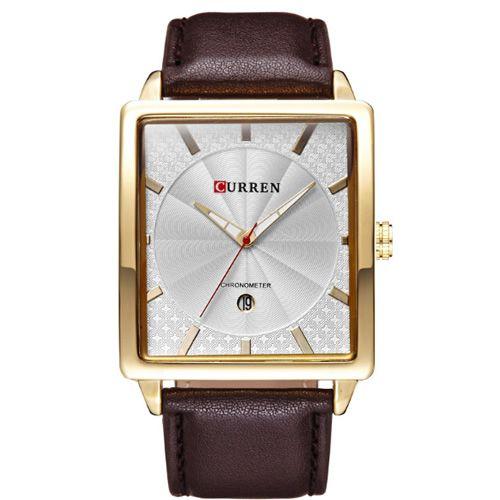 Relógio Masculino Curren Analógico 8117 Marrom e Branco