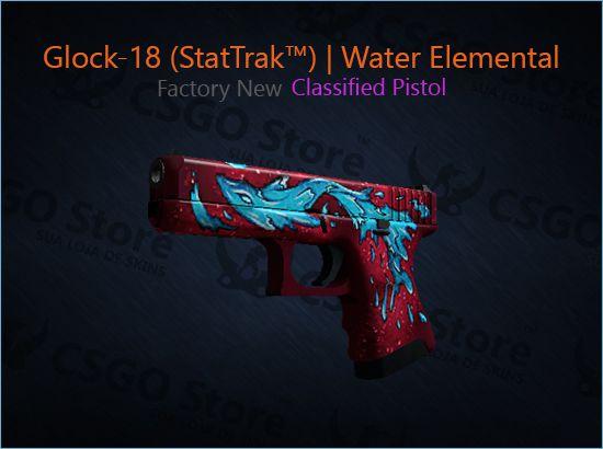 Glock-18 (StatTrak™) | Water Elemental (Factory New)