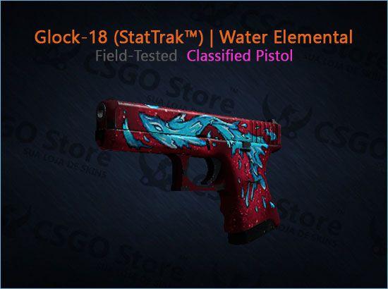 Glock-18 (StatTrak™)| Water Elemental (Field-Tested)