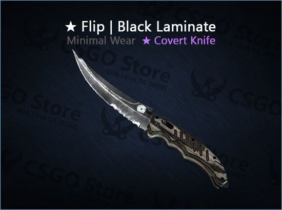 ★ Flip Knife | Black Laminate (Minimal Wear)