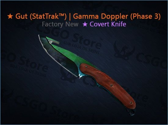 ★ Gut Knife (StatTrak™) | Gamma Doppler Phase 3 (Factory New)
