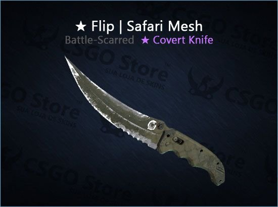 ★ Flip Knife | Safari Mesh (Battle-Scarred)
