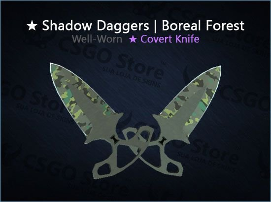 ★ Shadow Daggers | Boreal Forest (Well-Worn)