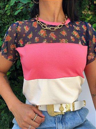 T-shirt com Tule Floral