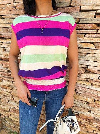 T-shirt Listrada Color com Lastex na Barra