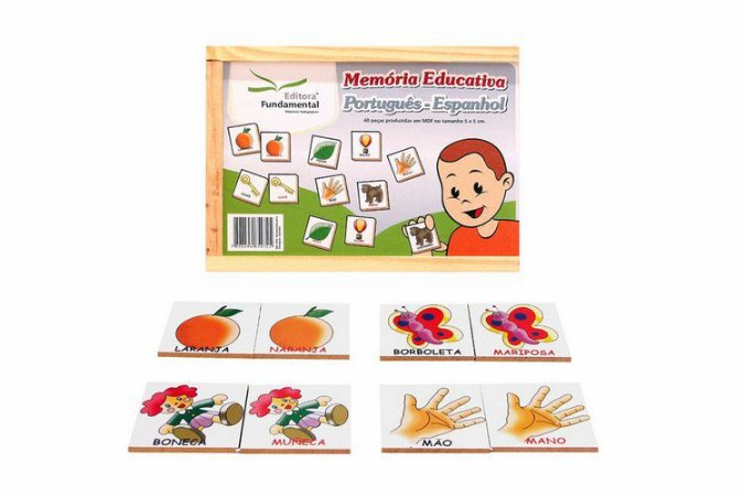 Memória Educativa Português - Espanhol - 40 peças