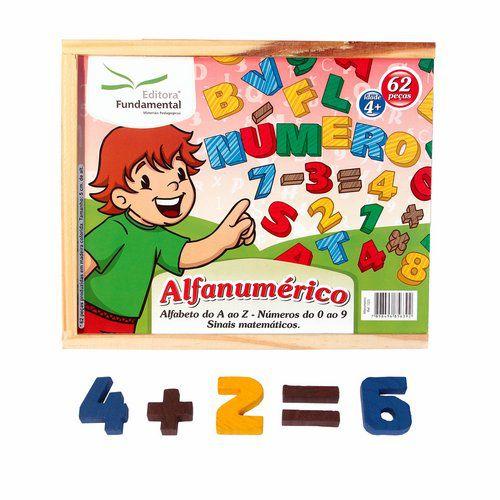 Alfanumérico em madeira colorida 62 peças