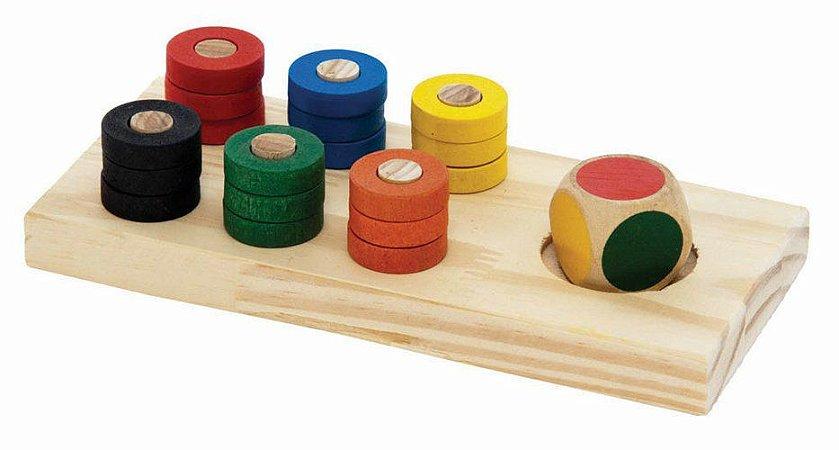 Jogo de Cores - Base + dado em cores + 18 argolas coloridas
