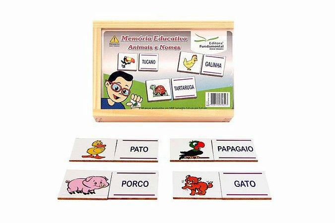 Memória Educativa - Animais e Nomes - Jogo c/40 peças