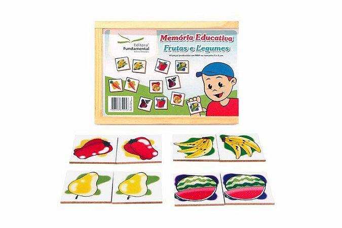 Memória Educativa - Frutas e Legumes - Jogo c/40 peças