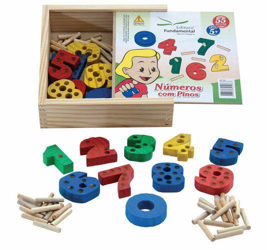 Números c/ Pinos - 10 números em madeira c/ 05 cm + 45 pinos