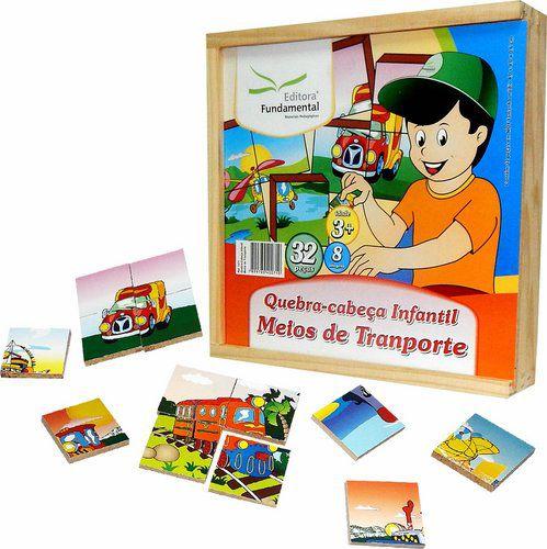 Conjunto de Quebra-Cabeças Meios de Transportes - 32 peças