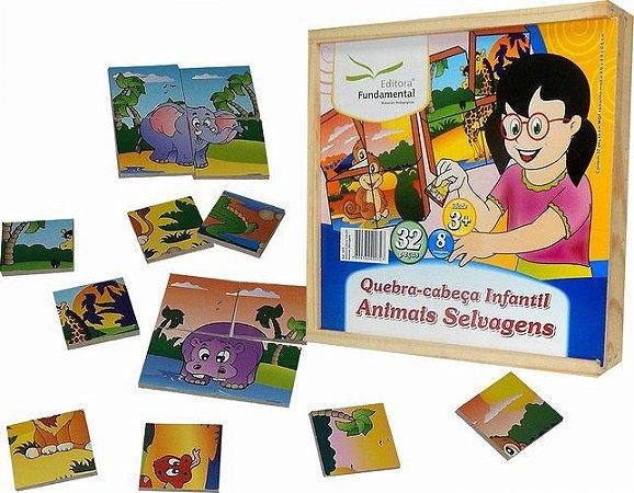 Conjunto de Quebra-Cabeças Infantil Animais Selvagens - 32 peças