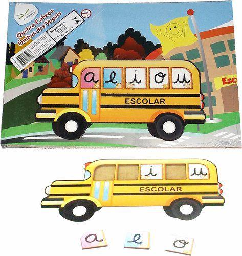 Quebra-Cabeça Ônibus das Vogais - 8 peças