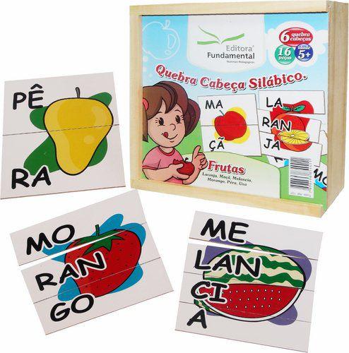 Quebra-Cabeça Silábico Frutas - 16 peças