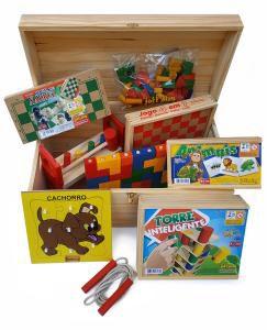 Baú de Brinquedos - 12 jogos em madeira