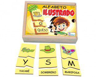 Alfabeto Ilustrado em Espanhol em madeira - 78 peças