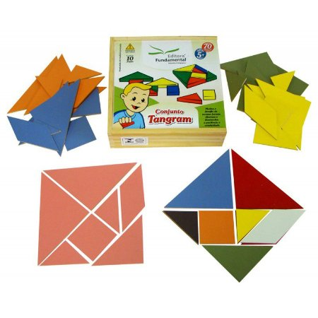 Conjunto Tangram em madeira - 10 placas - 70 peças