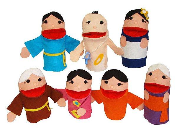 Conjunto de Fantoches Família Oriental - 7 peças